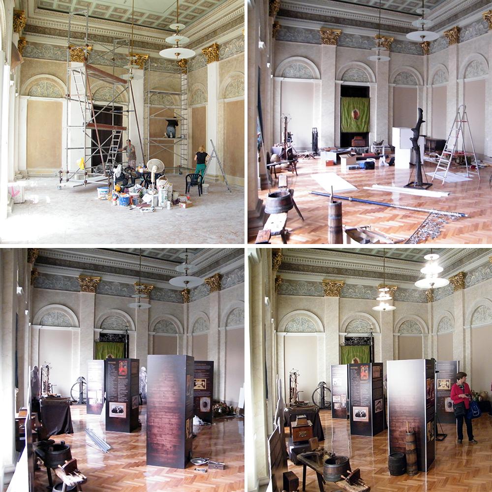FOTO 2 Sređivanje Svečane sale i montaža postavke izložbe
