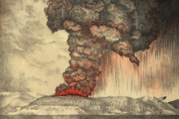 27th May 1883: Clouds pouring from the volcano on Krakatoa (aka Krakatau or Rakata) in south western Indonesia during the early stages of the eruption which eventually destroyed most of the island. Royal Society Report on Krakatoa Eruption - pub. 1888 Lithograph - Parker & Coward (Photo by Hulton Archive/Getty Images)